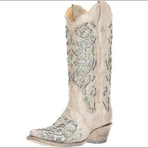 Corral Martina Green White Glitter Crystals Boots